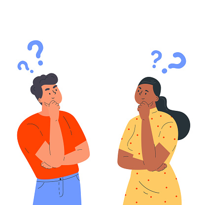 Couple of man and woman having a question