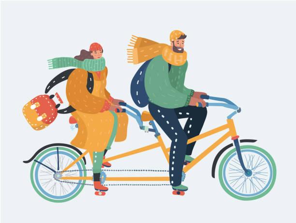 illustrazioni stock, clip art, cartoni animati e icone di tendenza di couple of man and woman riding a tandem bicycle - couple portrait caucasian