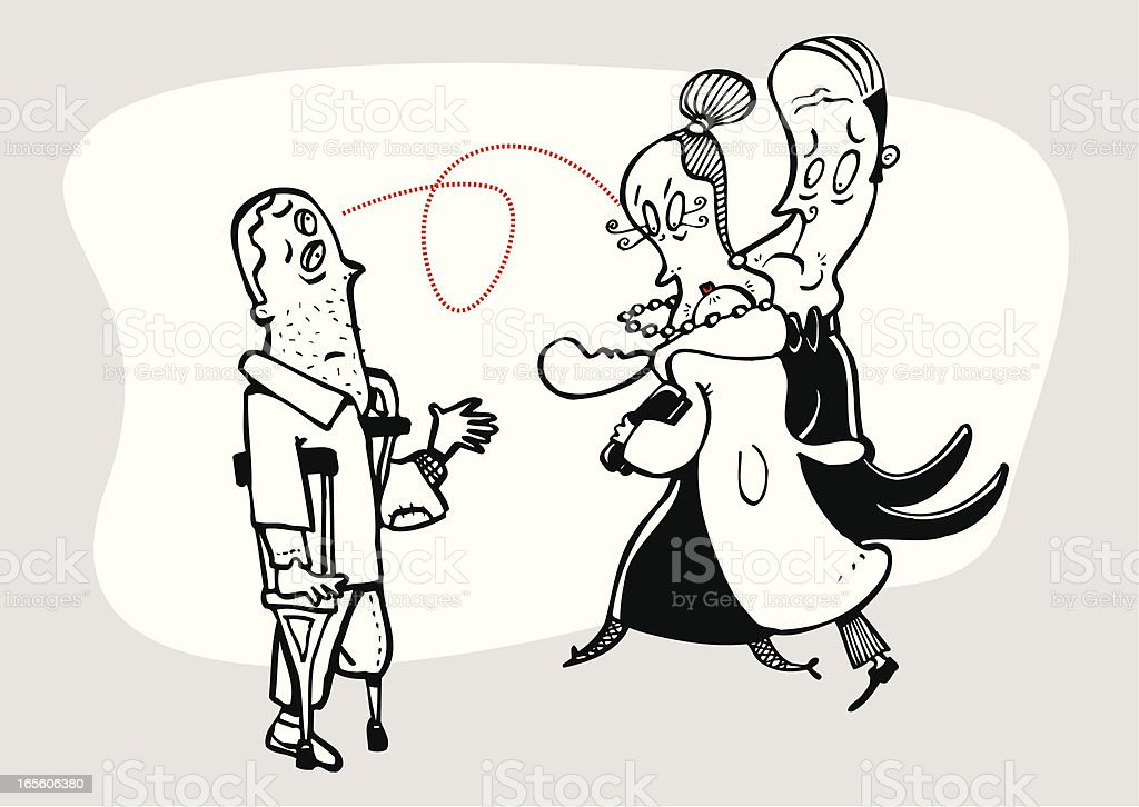 Couple of millionaires  looking with contempt to a beggar royalty-free stock vector art