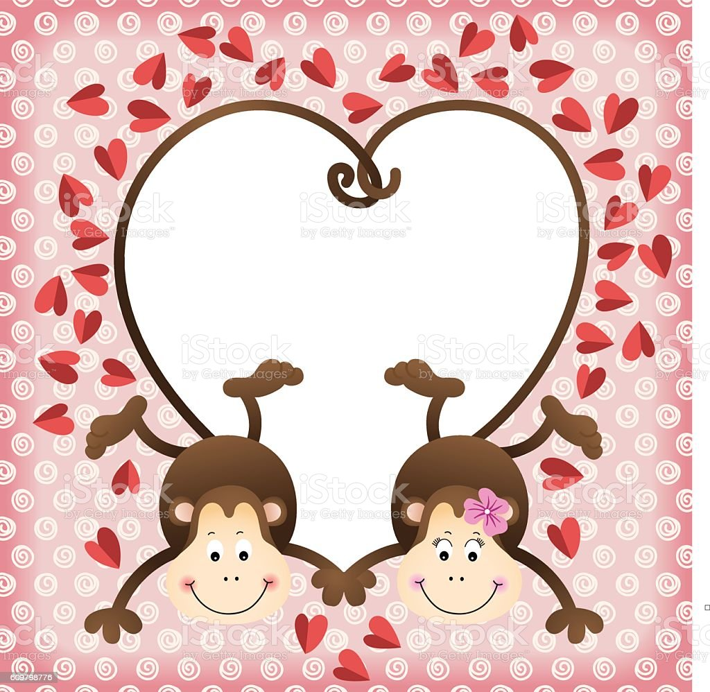 Couple Of Monkeys Shaped Heart Of Tails Scrapbook Frame Stock Vector ...