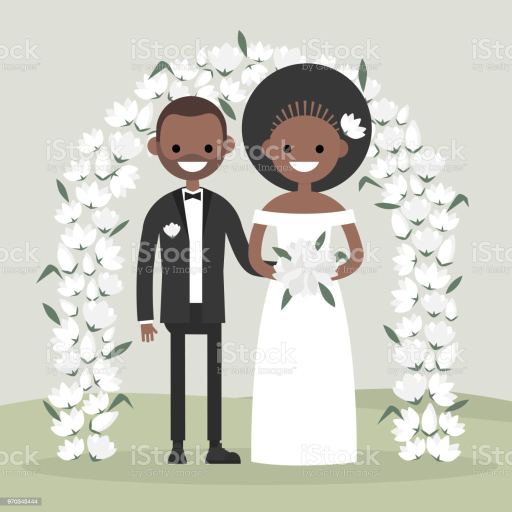 A couple of newly weds standing behind the floral arch. Bride and groom. New family. Elegant garden ceremony. Flat vector illustration, clip art vector art illustration