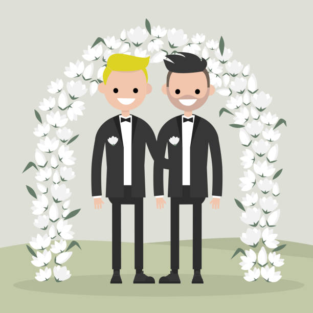 illustrazioni stock, clip art, cartoni animati e icone di tendenza di a couple of newly weds standing behind the floral arch. two grooms. homosexual family. lgbtq rights. gay marriage.  elegant garden ceremony. flat vector illustration, clip art - coppia gay