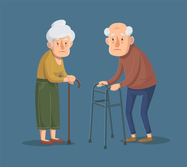 ilustrações de stock, clip art, desenhos animados e ícones de couple of old people is standing with walking frame and stick. vector illustration. - covid hair