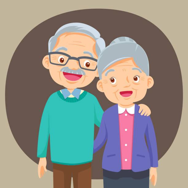 illustrazioni stock, clip art, cartoni animati e icone di tendenza di couple of older people - grandparents
