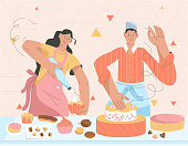 Couple of pastry chefs making sweets in kitchen. Professional confectioners decorating cakes and cupcakes. Chocolates candies, cookies, cakes, muffins are on table. Vector character illustration
