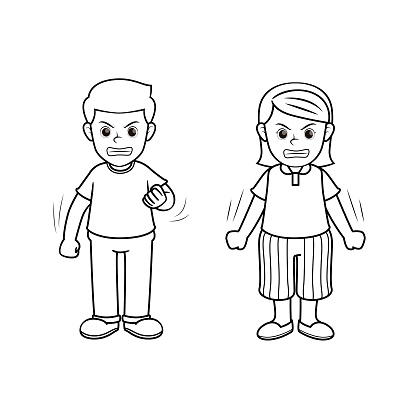 A couple of people feeling angry. One man and one woman show face expression of emotion. Only black and white for coloring page.Used to compose teaching materials in a set that expresses emotions.