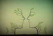 couple of people look like tree branches silhouettes, two profiles of lowers concept, vector