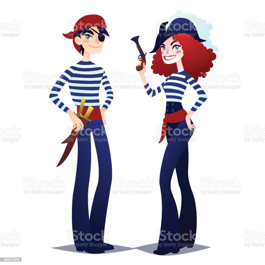 Paar Der Piraten Gehen Für Kostümparty Mädchen Und Jungen Im Stil ...