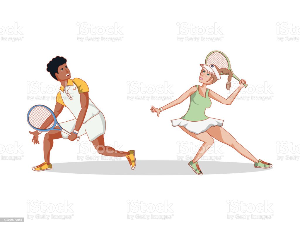couple of players tennis characters vector art illustration