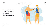 Couple of Senior People on Seaside Website Landing Page, Elderly Characters on Exotic Resort Beach, Leisure, Summer Vacation, Retirement People Relax Web Page. Cartoon Flat Vector Illustration, Banner