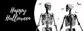 Couple of skeleton for halloween banner