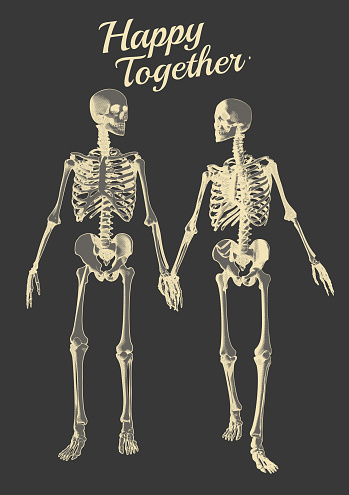 A couple of skeleton lover illustration