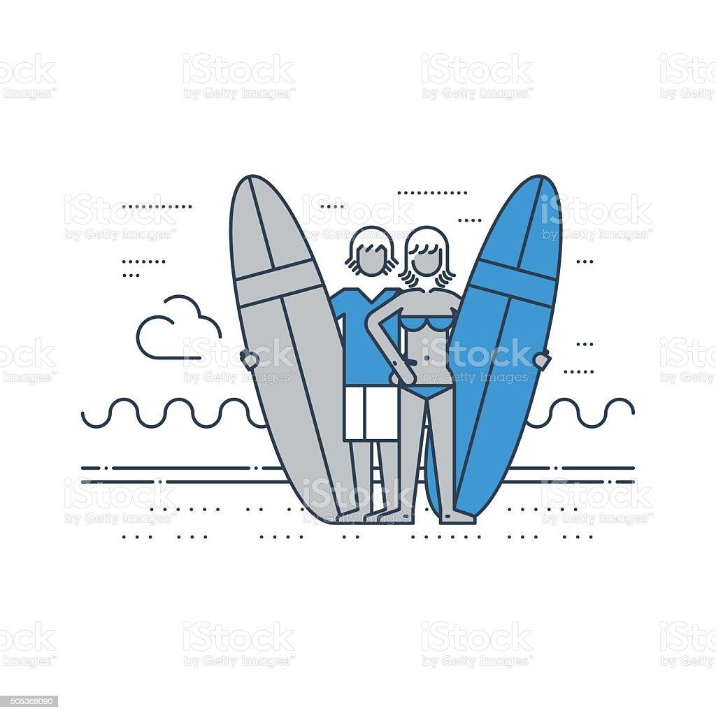 Couple of surfers on the beach vector art illustration