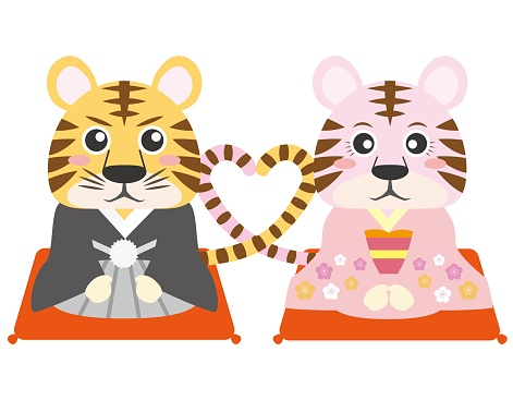 A couple of tigers wearing kimonos that make a heart with a tail that can be used for New Year's cards etc. / illustration material (vector illustration)