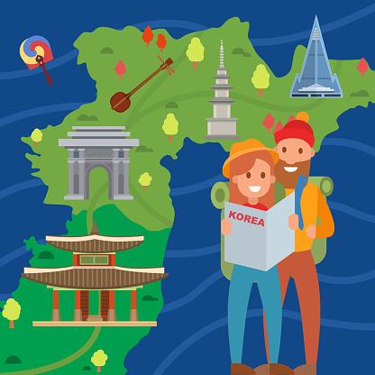 Couple of travelers on background Korea map vector illustration.