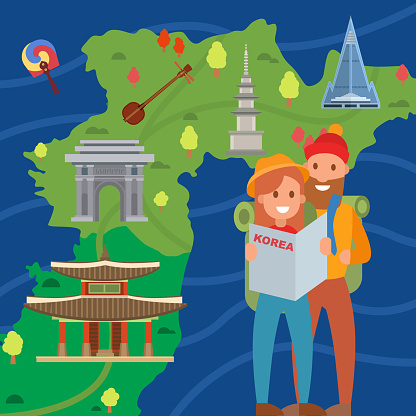 Couple of travelers on background Korea map vector illustration. Young man and woman tourists in Korea. Visiting Korea landmarks symbols architecture advertising tourism.