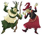 ハロウィーンのための魔女のカップル