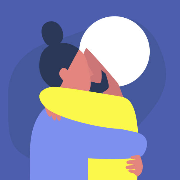 A couple of young adults hugging each other, affectionate partners, Saint Valentine day A couple of young adults hugging each other, affectionate partners, Saint Valentine day cisgender stock illustrations