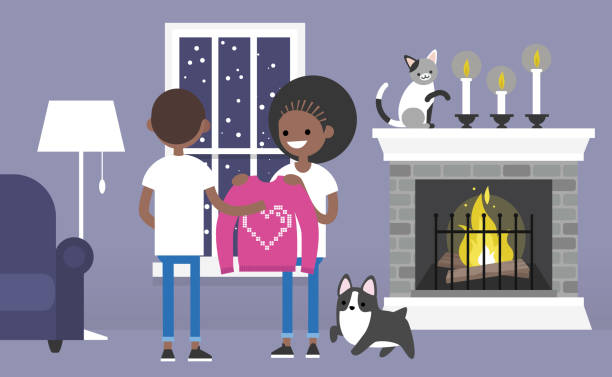 A couple of young black characters celebrating Saint Valentines day. Decorated guest room with a fireplace. Pets. Cozy interior. Flat editable vector illustration, clip art A couple of young black characters celebrating Saint Valentines day. Decorated guest room with a fireplace. Pets. Cozy interior. Flat editable vector illustration, clip art african american valentine stock illustrations