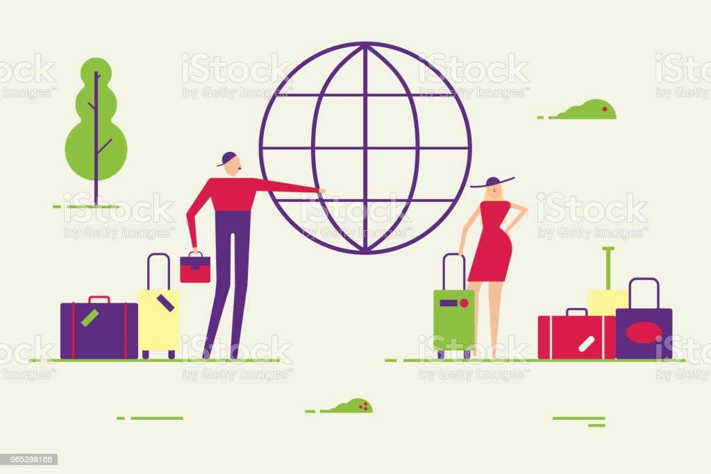Casal de jovens do sexo feminino e masculino. Homem e mulher com bagagem vão viajar ilustração em vetor mínimo abstrato estilo simples. Homem escolher a direção de viagem do globo. - Vetor de Abstrato royalty-free