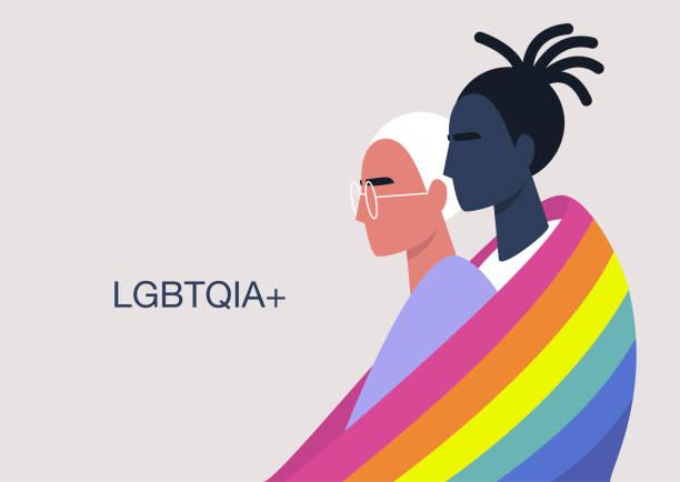 ilustrações, clipart, desenhos animados e ícones de um casal de jovens abraçando personagens cobertos com a bandeira do arco-íris lgbtq+, relações entre pessoas do mesmo sexo, diversidade e direitos humanos - lgbt