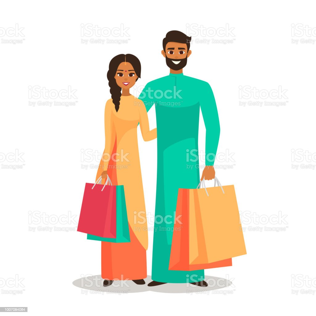 Couple of young Indian people with the packages vector art illustration