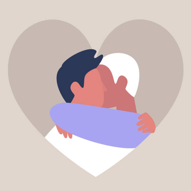 illustrazioni stock, clip art, cartoni animati e icone di tendenza di a couple of young male adults hugging each other, friendship and support, affectionate partners, saint valentine day, lgbtq - coppia gay