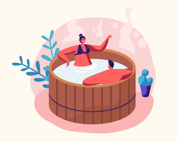 stockillustraties, clipart, cartoons en iconen met paar jonge man en vrouw zitten in houten bad met water nemen sauna en spa water procedure. ontspanning, lichaamsverzorging therapie, wellness, hygiëne, huwelijksreis, datum cartoon platte vector illustratie - sauna