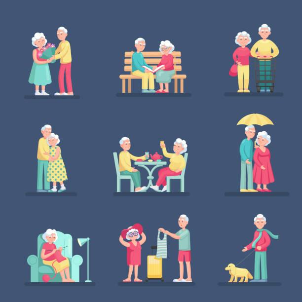 異なる状況でカップルの老人男女セット。 - 老夫婦点のイラスト素材/クリップアート素材/マンガ素材/アイコン素材
