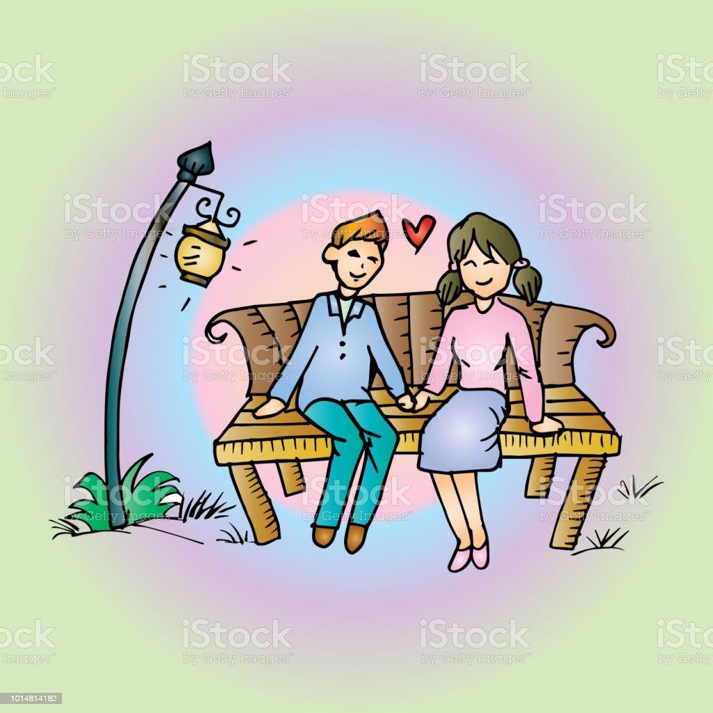 ベンチをカップルします手の図面の図 - いたずら書きのベクターアート