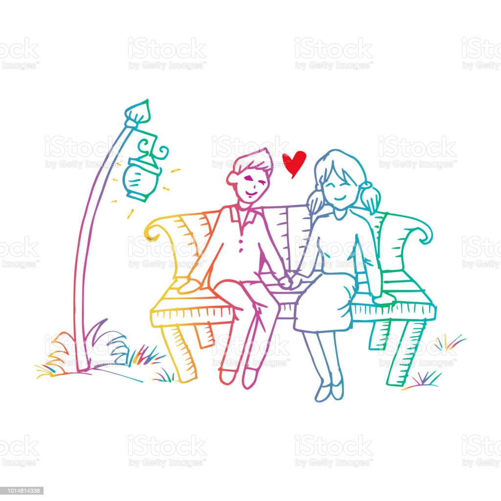 Couple on a bench. Hand drawing illustration.