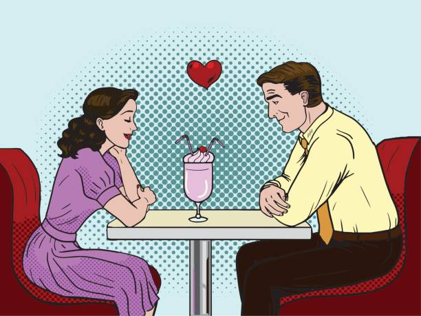 illustrazioni stock, clip art, cartoni animati e icone di tendenza di couple on a date in restaurant. pop art. - dinner couple restaurant