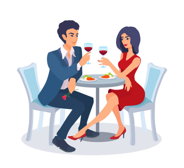 illustrazioni stock, clip art, cartoni animati e icone di tendenza di couple on a date sit together at a table with food, raise their glasses, look at each other. - dinner couple restaurant