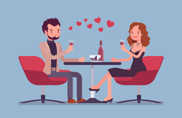 couple on a romantic date - date night stock illustrations
