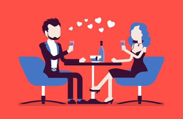 illustrazioni stock, clip art, cartoni animati e icone di tendenza di couple on a romantic date - dinner couple restaurant