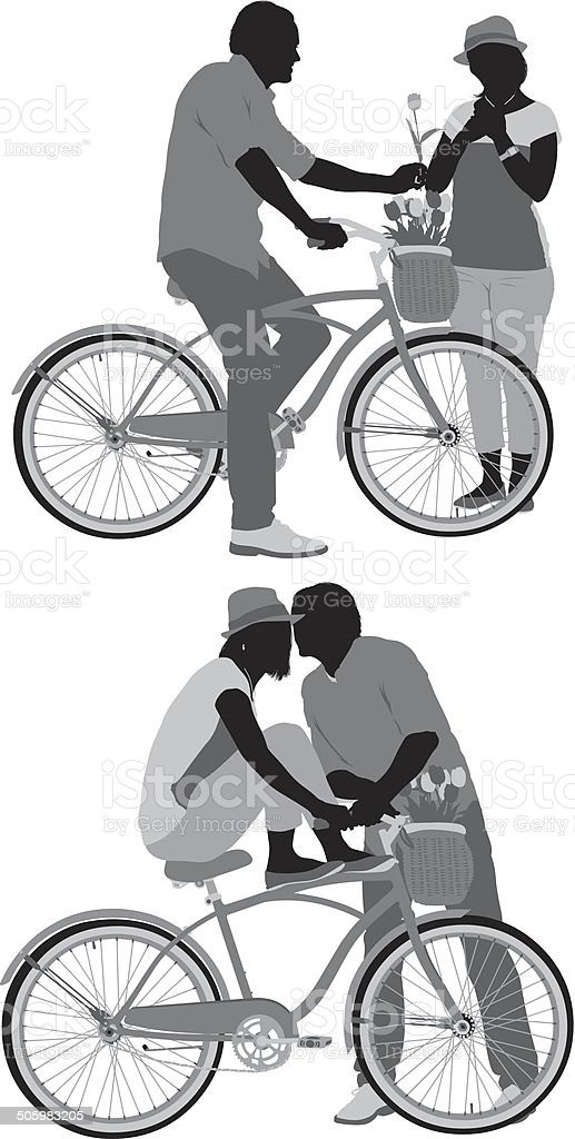 Couple on bicycle royalty-free stock vector art