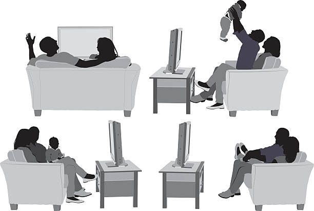 Couple on couch and in various actions Couple on couch and in various actionshttp://www.twodozendesign.info/i/1.png watching tv stock illustrations
