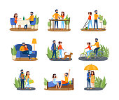 Couple on different activity set. Man and woman cooking together, walking a dog and watching TV. Young family at home. Isolated flat vector illustration