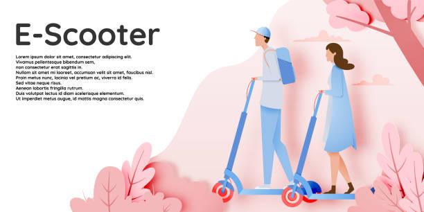 illustrazioni stock, clip art, cartoni animati e icone di tendenza di a couple on electric scooter - monopattino elettrico