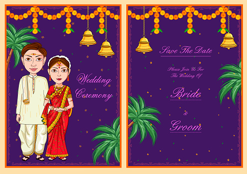 Couple on Indian Wedding invitation template background