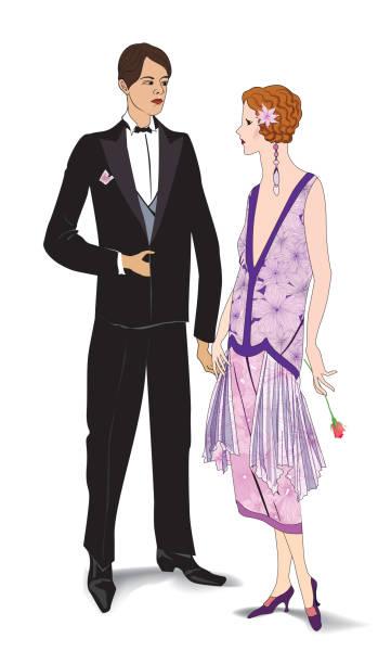 ilustrações, clipart, desenhos animados e ícones de casal em festa. - moda urbana