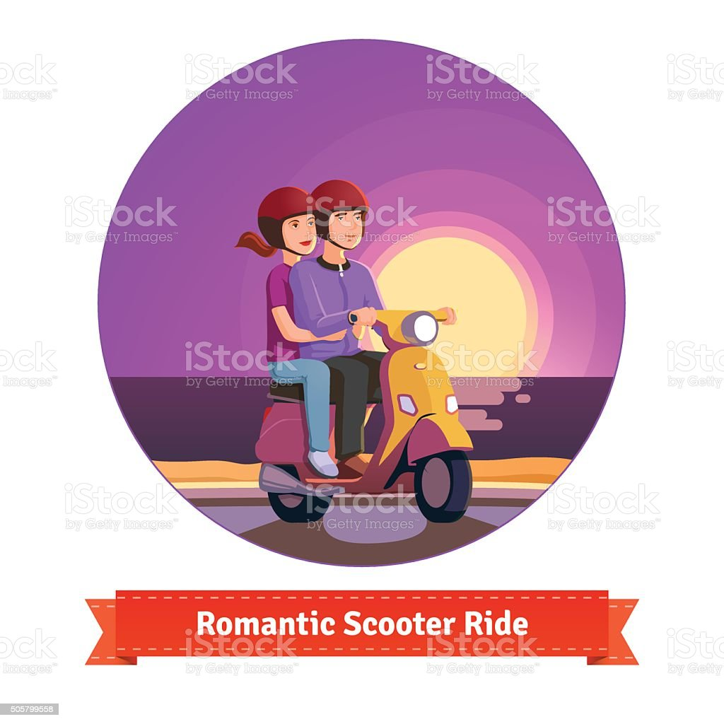 Couple on scooter having a romantic ride vector art illustration