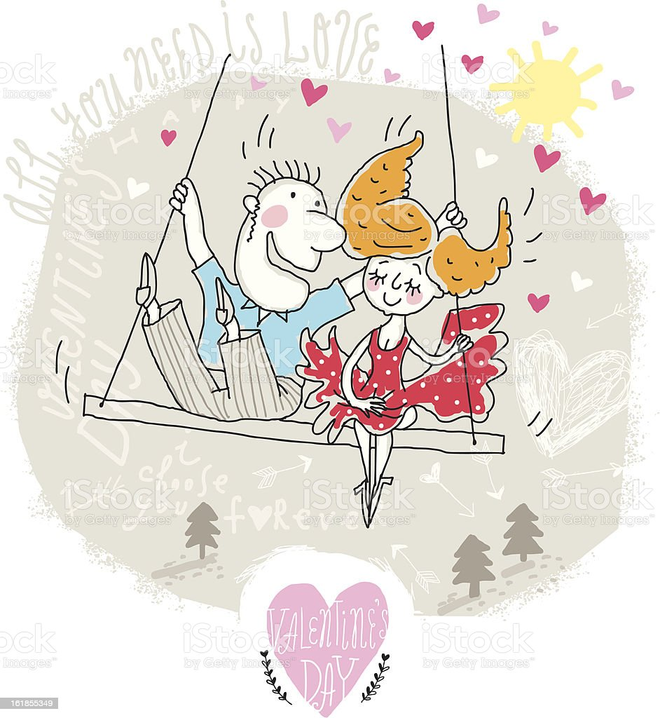 Couple on swing royalty-free stock vector art