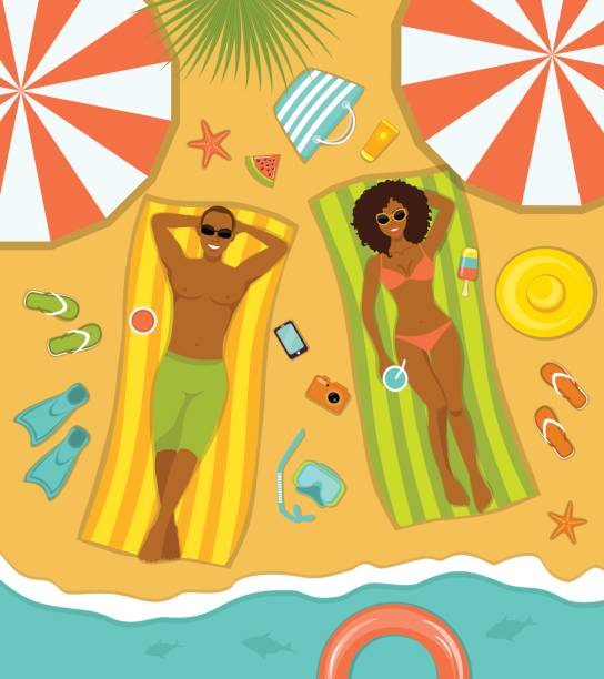 Couple on the beach top view. Man and Woman sunbathing on striped towels . Summer Time vector art illustration