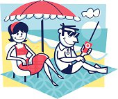 illustration of a couple on vacation enjoying the beach