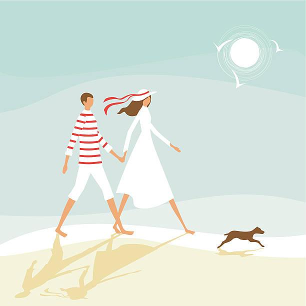 Couple on the beach vector art illustration