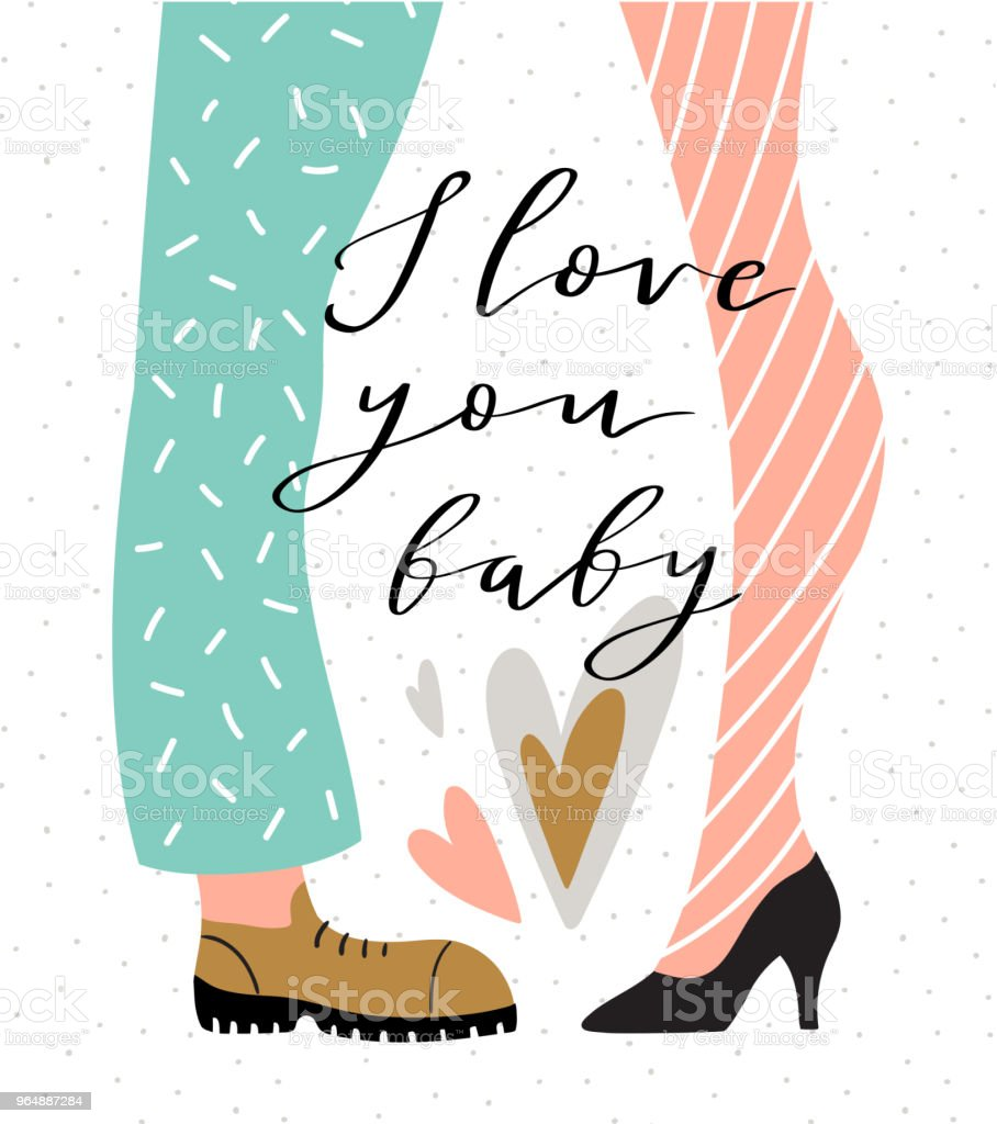 Couple on the polka dot background with lettering - 'I love you baby'. Valentine's Day card. Cute couple in love. Vector illustration in hand drawn style. royalty-free couple on the polka dot background with lettering i love you baby valentines day card cute couple in love vector illustration in hand drawn style stock vector art & more images of adult