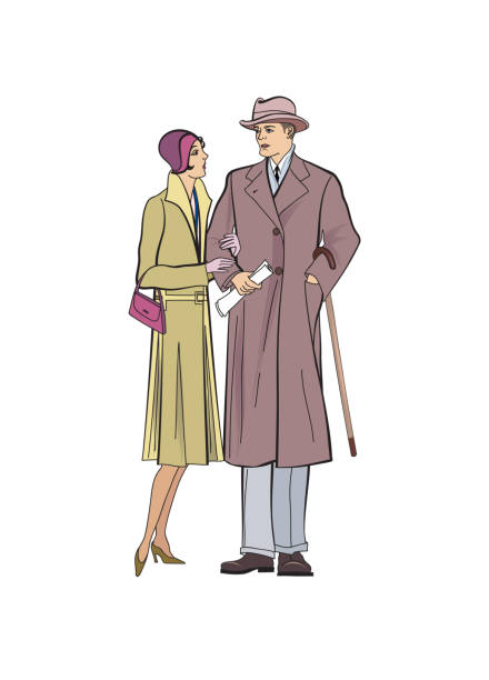 Couple outdoor. Man and woman in outerwear dress in vintage style 1920's. vector art illustration