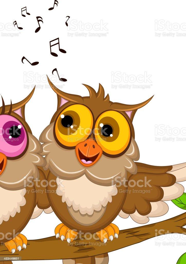 couple owl cartoon singing vector art illustration