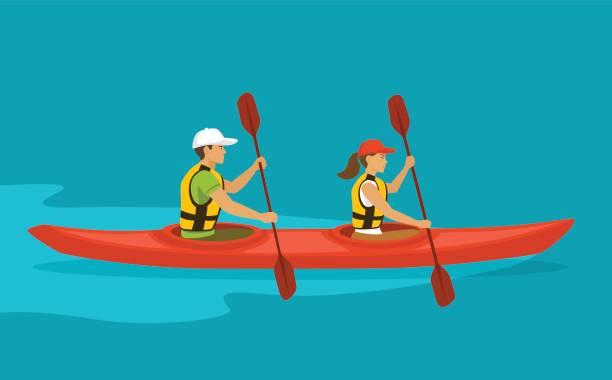 Paar im Zweier-Kajak auf dem Wasser paddeln – Vektorgrafik